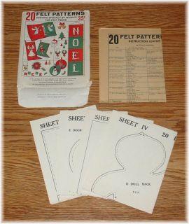 1963 McCalls 20 Felt Patterns Christmas Stockings Angel