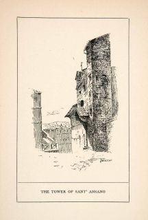 1902 Wood Engraving Tower Torre Sant Ansano Italy Historic
