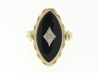 14k Gold Black Onyx Diamond Ladies Ring Vintage Jewelry