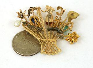 Stylish Vintage 14k Gold Gems Ladies Stick Pin Brooch