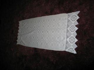 Antique Irish Damask Linen & Lace Guest Towel~Splasher~Dresser Scarf