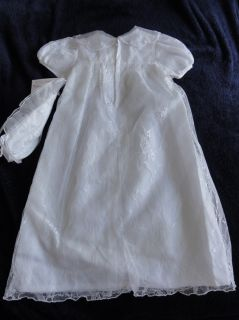 Baptism Christening Blessing Dress White L Bonnet