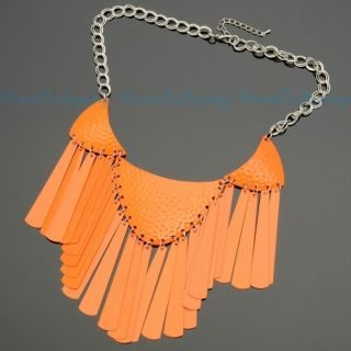 Fashion Orange Lacker Collar Tassel Pendant Punk Rock Jewelry Necklace