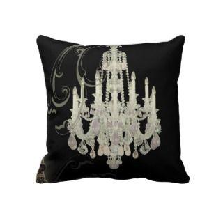 black whie Chandelier vinage paris decor Pillow