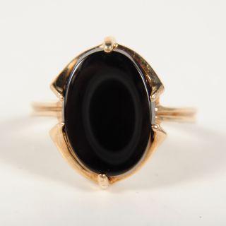 Ladies 10K Yellow Gold Large Black Onyx Ring Size 6 25 1 9DWT