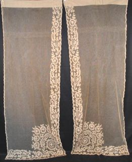 LONG 2 PAIR EMBROIDERED ECRU TAMBOUR NET LACE CURTAIN PANELS 87 x 34