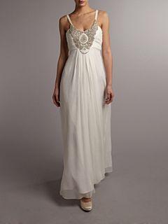 Anoushka G Karianna metallic detail front dress Ivory
