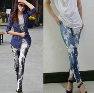 Art Design Sexy Imitate Jeans Lacker Print Leggings Tights Pants Punk