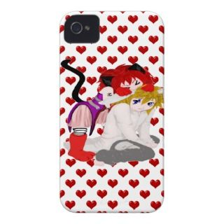 Red Hearts Chibi Friends iPhone 4 Case Mate Cases