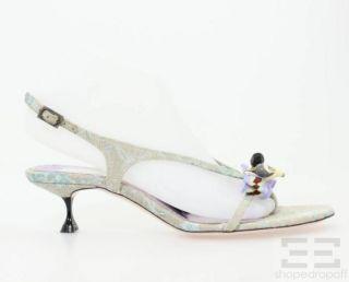 Christian Lacroix Grey & Blue Brocade Seashell Sandal Heels Size 38.5