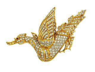 Hand Made 18K Gold Diamonds Ladies Phoenix Bird Pin Brooch