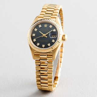 Ladies Rolex 18K Yellow Gold Datejust President Blue Diamond 69178