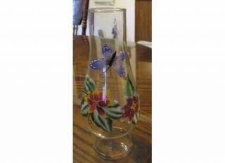 BUTTERFLY OIL HURRICANE LAMP KEROSENE 8 1/2 H CLEAR GLASS GLOBE SHADE