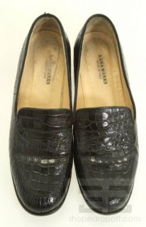 Lana Marks Black Alligator Loafer Flats Size 37