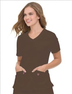 New Landau 4031 Woven Tunic Top Solid Chestnut Medical Nurse Scrubs