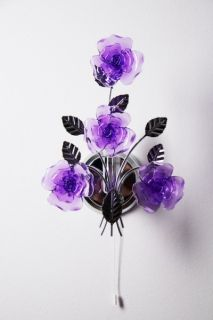 Wall Lamp with Purple Coloured Flower Decor Chrome Finish Design