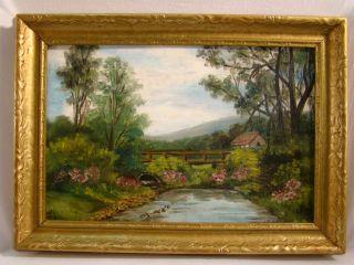 VICTORIAN Estate OLD Country BRIDGE Rural FOLK Art LANDSCAPE Painting