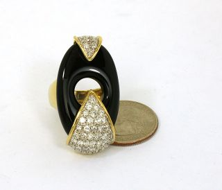 18K Gold 1 35 cts Diamonds Hand Carved Black Onyx Ladies Ring