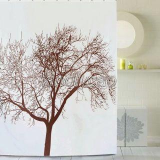 Brown Tree Landscape Pictrue Bathroom Fabric Shower Curtain KA065