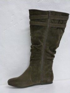 NWOB LANE BRYANT CHOCOLATE BROWN DOUBLE UPPER BUCKLE DETAIL BOOTS sz