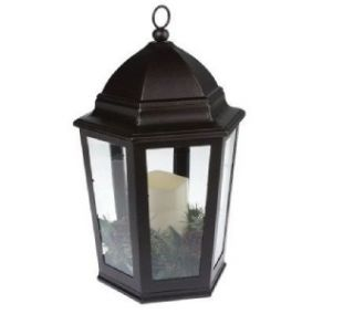 Bethlehem Lights 15 Battery Operated Candle Lantern with Greenery