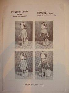 Vtg RARE Virginia Lakin Doll Knitting Crochet Pattern