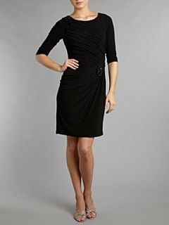 Adrianna Papell Evening Embellished shoulder long sleeve dress Black