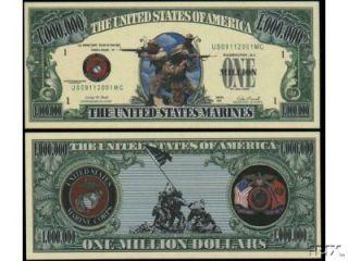 US Marines Million Dollar Bills 5 $2 50