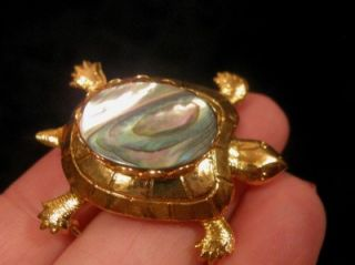 Metal Abalone Shell Turtle Brooch Pin Cab Land Turtle Jewelry