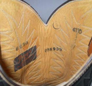 RARE Vintage Tony Lama Black Label Mens Chocolate Brown Cowboy Boots