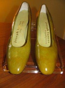 Vtg 70s Larose Olive Green Patent Leather Low Pumps 7N