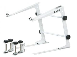 Lstandwht New DJ Series Laptop Stand White w Table Case Clamps