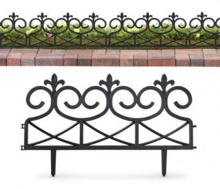 PC Scroll  Black Garden Border Plastic Edging Yard Decor NEW I5308