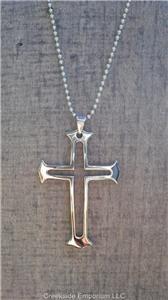 Large Tungsten Carbide Unisex Cross Pendant Necklace