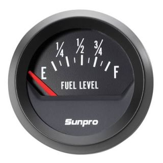 Sunpro Analog Styleline Electrical Fuel Level Gauge 2 Dia Black Face
