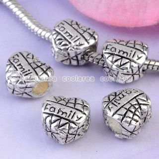 Family European Large Hole Beads Fit Charms Jewelry Making