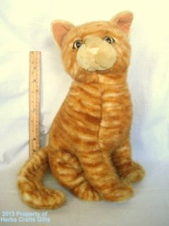 Plush Cat 15 Tiger Striped Tabby Yellow Orange Kitty Large Soft Free
