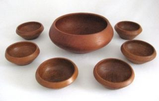 Solid Teak Wood Hand Carved Salad Bowl Set 1 Large 6 Individual Bowls