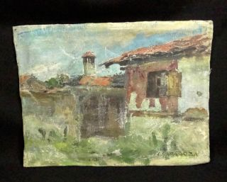 VILLAGE COUNTRY FOLK HOUSES LANDSCAPE OIL CANVAS PAINTING~SIGNED