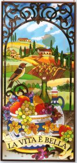 Tuscan Landscape 40 Tuscany Italy Stained Glass Panel