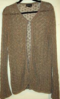 Lane Bryant Tan Beige Crochet Knit with Glitter Gold Cardigan Sweater