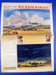 Chicago Tribune Graphic Section WWII Rabaul RAID Ring Lardner