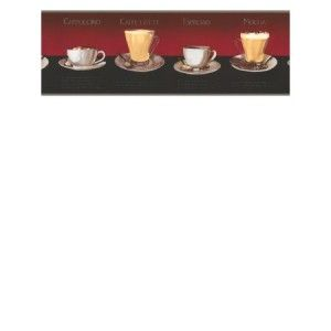 Wallpaper Border Coffee Mocha Espresso Latte Cafe