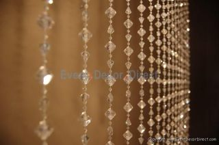 6ft Long Large Diamond Iridescent Acrylic Crystal Curtain Wedding