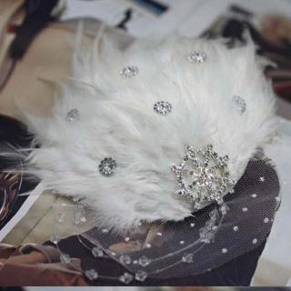 Bridal White Rhinestone Lace Feather Headpiece Hair Fascinator BA168