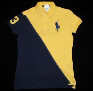 Ralph Lauren Womens Rugby Shirt s Small Polo Blue Yellow Big Pony New