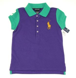 Ralph Lauren Girls Polo Shirt 4 4T Purple Pique Short Sleeve Big Pony