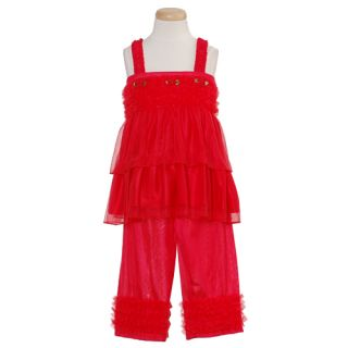 Laura Dare Toddler Girls Red Size 4T Ruffle Pajamas Sleepwear Set