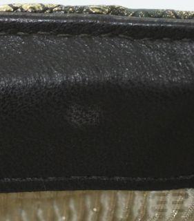 Lauren Merkin Distressed Black Gold Embossed Clutch Bag