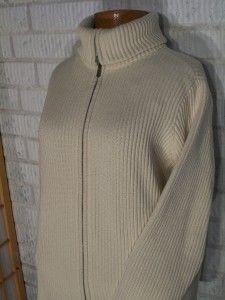 Ralph Lauren Ladies Womens Zipper Cardigan Sweater Ivory Cotton Plus